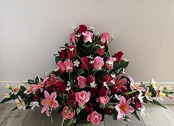 roselynexpress Composition de Fleurs artificielles lesté Totalement Ciment  en jardinière, pour cimetière. Réalisé par nos Soins, Fleurs de très Bonne