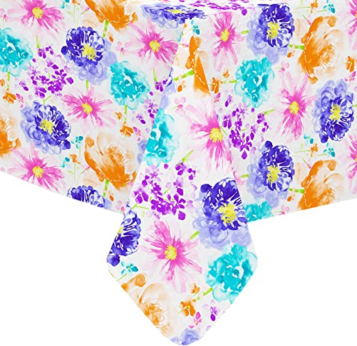 """New Summer Fun Vinyl Tablecloth FLORAL Theme 52/"""" Square 60/"""" Round /& Oblong"""