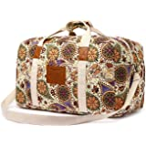 Malirona Canvas Weekender Bag Travel Duffel Bag for Weekend Overnight Trip (Yellow Flower)