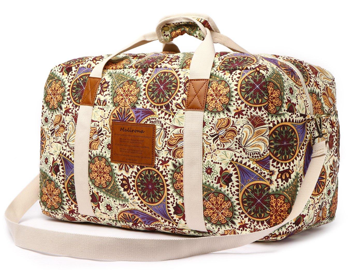 Malirona Canvas Weekender Bag Travel Duffel Bag for Weekend Overnight Trip (Yellow Flower) by Malirona (Image #1)