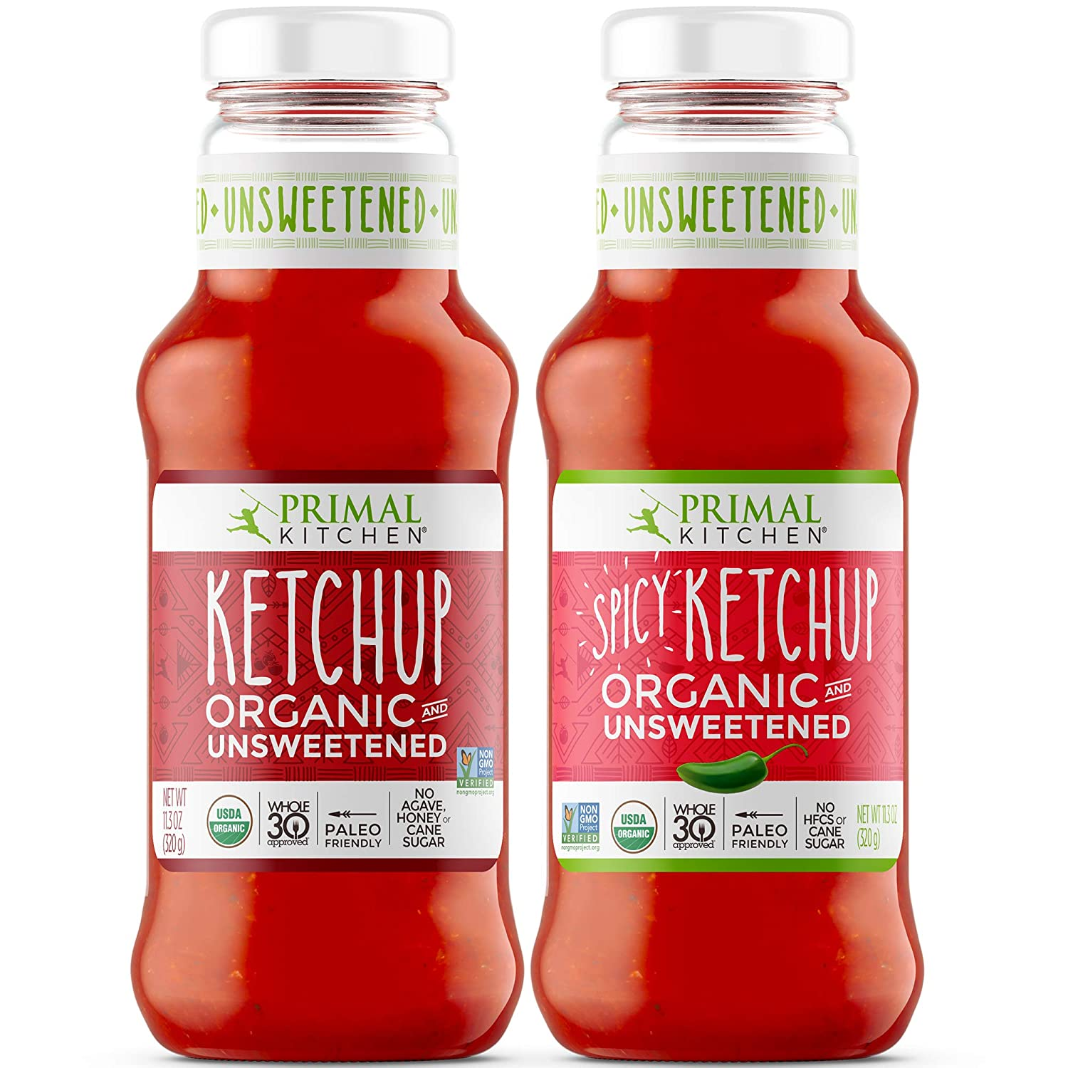Primal Kitchen Organic and Unsweetened Ketchup Variety Two Pack, Whole 30 Approved, Includes 1 Original & 1 Spicy Ketchup