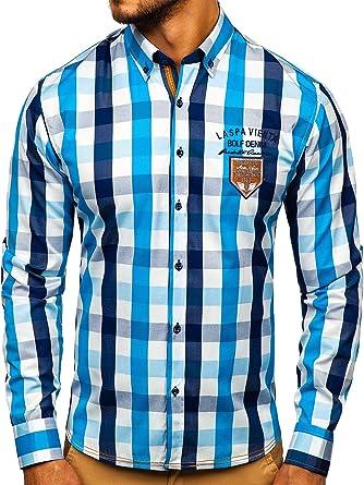 BOLF Hombre Camisa De Manga Larga Elegante Cuello Americano Slim Fit 2B2: Amazon.es: Ropa y accesorios