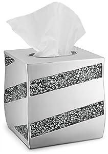 DWELLZA Tissue Box Cover Square - Decorative Bathroom Tissue Holder, Silver Mosaic Collection, Bottom Slider, Bling Sparkle Kleenex Box Covers, Silver Bathroom Accessories