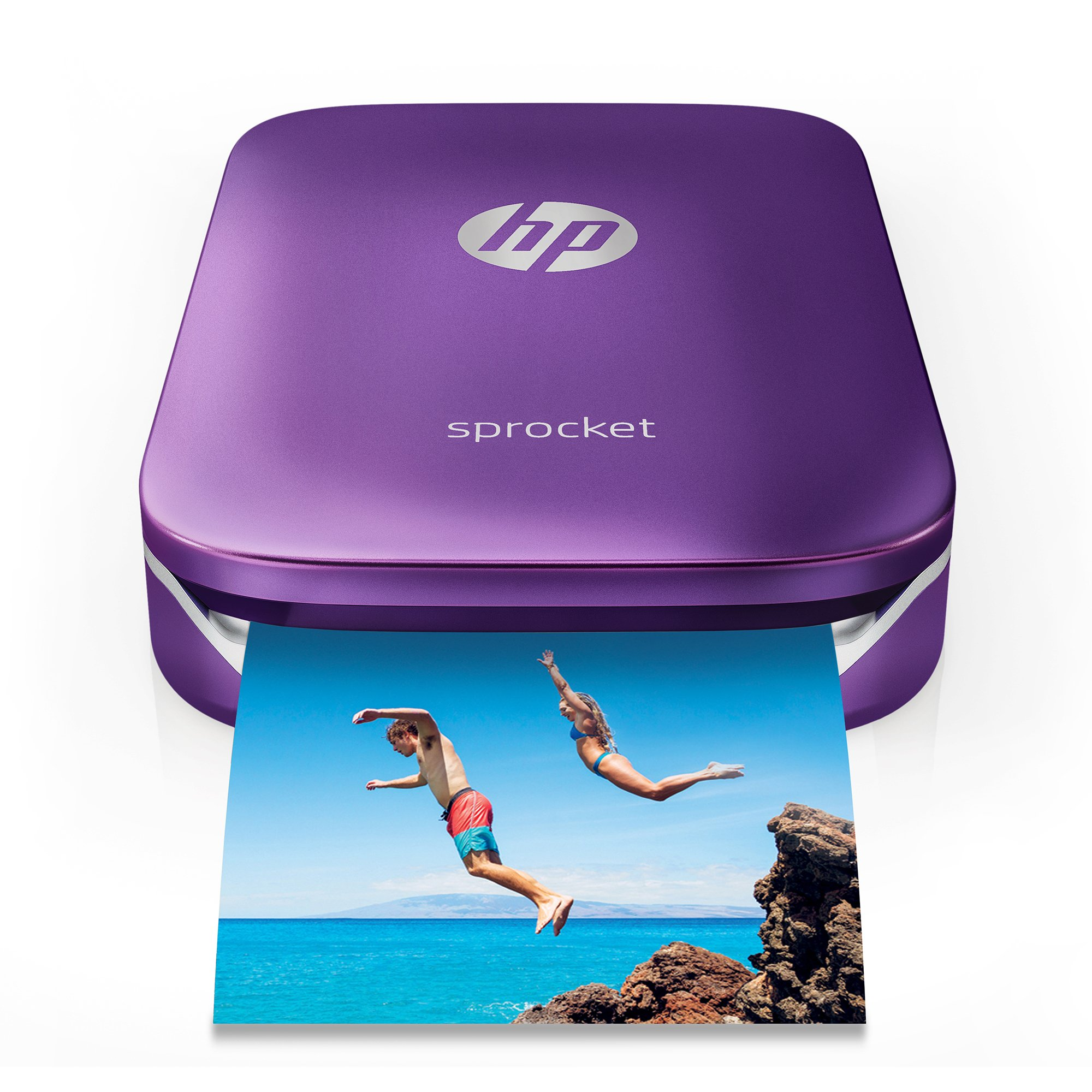 HP Sprocket Portable Photo Printer, Print Social Media Photos on 2x3'' Sticky-Backed Paper - Purple (Z9L25A)