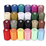 Sewing Thread - 24 Polyester Threads for Hand Stitching, Quilting & Sewing Machine - Set of 1000 yds Per Spool - 22 Colors Pl