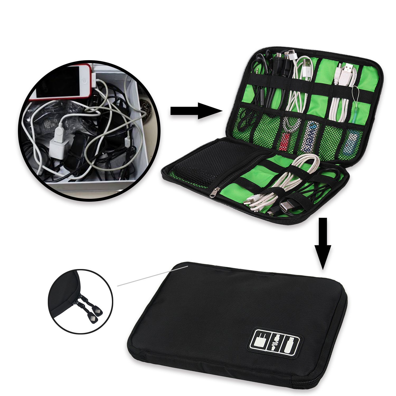 Travel Universal Cable Organizer Electronics Accessories Cases for Various USB, Phone, Charger and Cable, Black by zhenrong (Image #2)