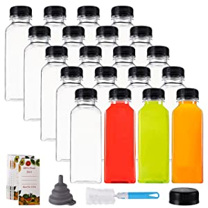 Cedilis 20 Pack 12oz Plastic Juice Bottles with Black Cap, Clear Reusable Containers with Lids, Great Bottles for Making Juice, Milk, Salad Dressing, Smoothie and Other Beverages