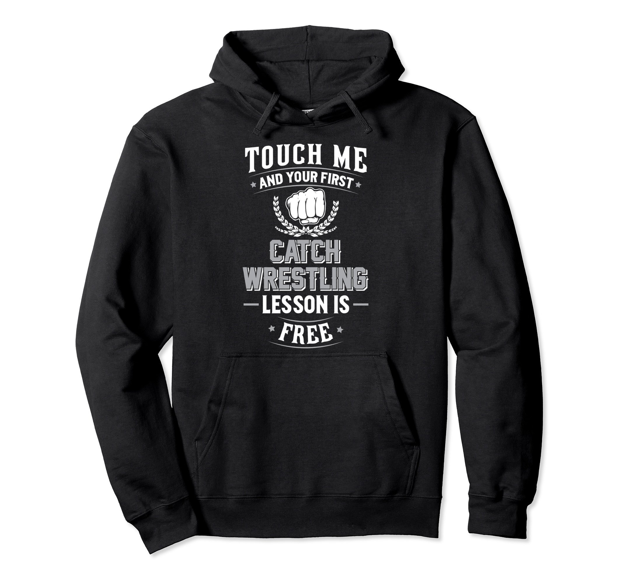 Unisex Catch Wrestling Pullover Hoodie - Your First Lesson Free! XL: Black