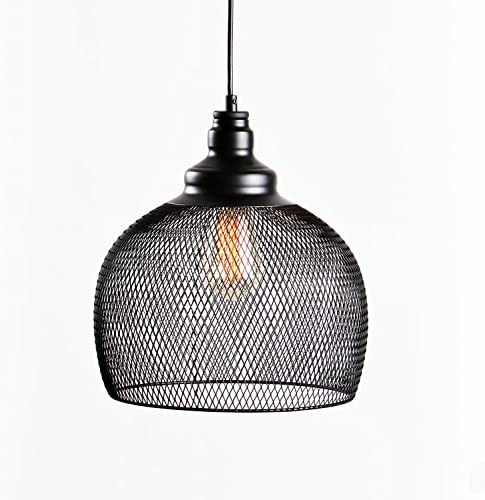 Hanging Black Metal Mesh Pendant