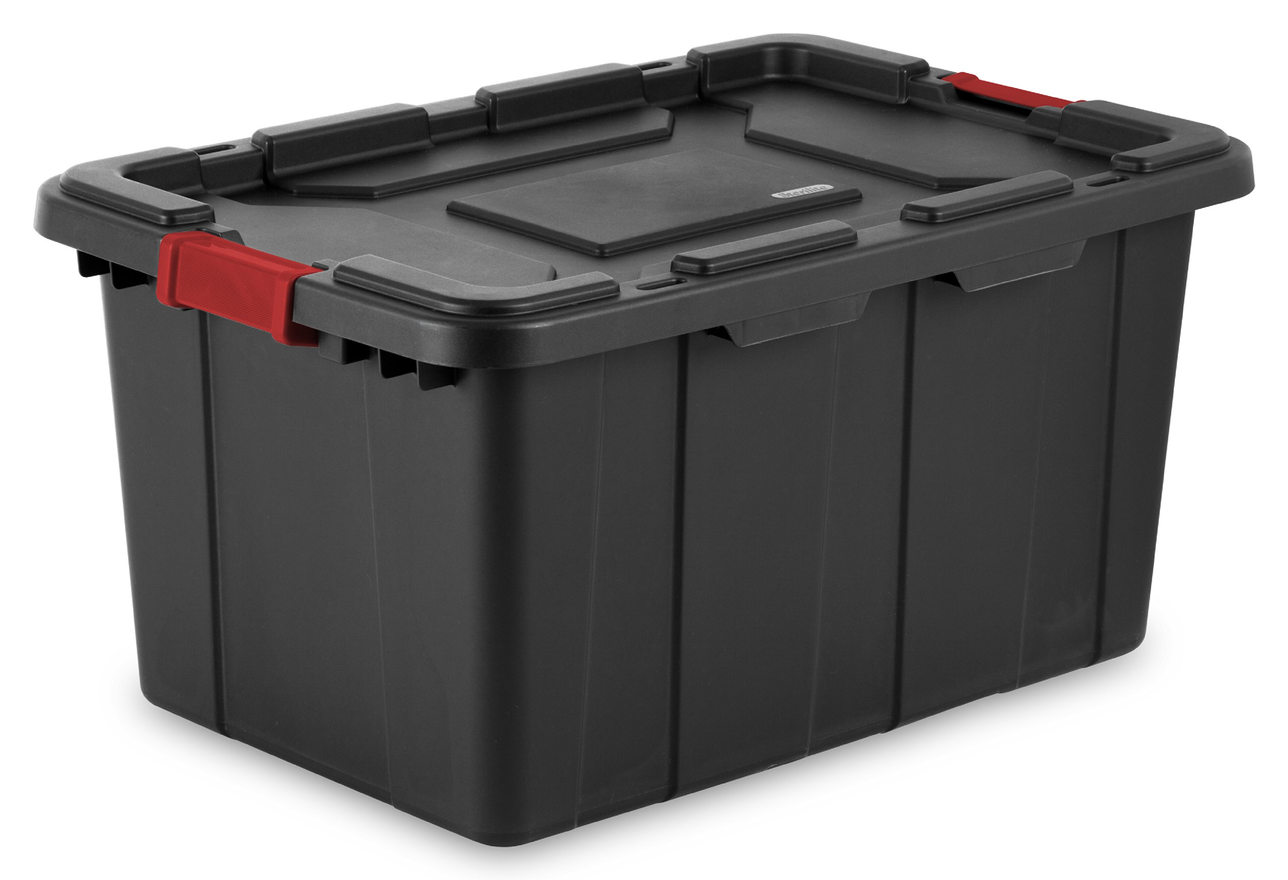 STERILITE 14669004 27 Gallon/102 Liter Industrial Tote, Black Lid & Base w/Racer Red Latches, 4-Pack