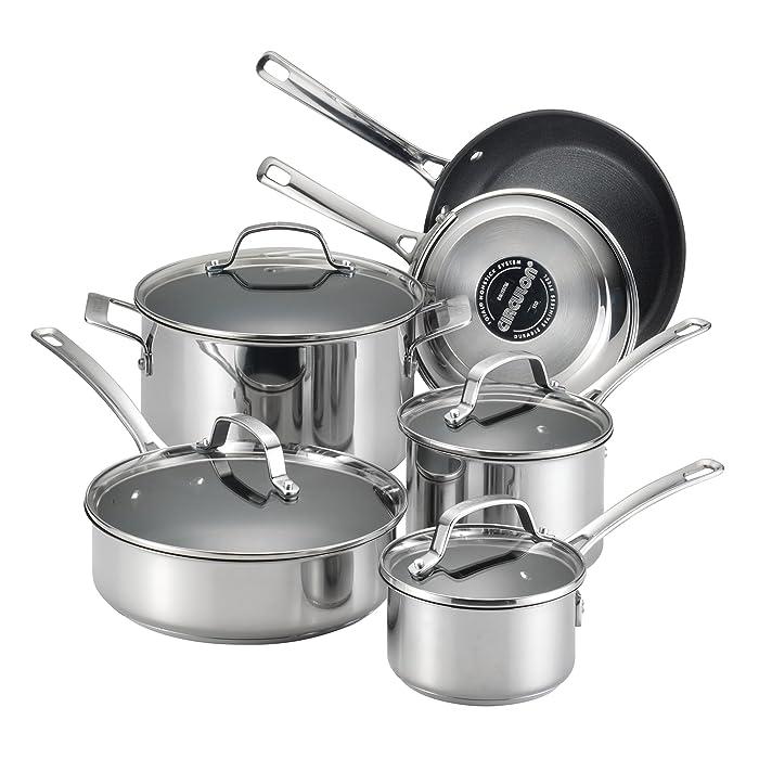 Circulon Genesis Stainless Steel Nonstick 10-Piece Cookware Set