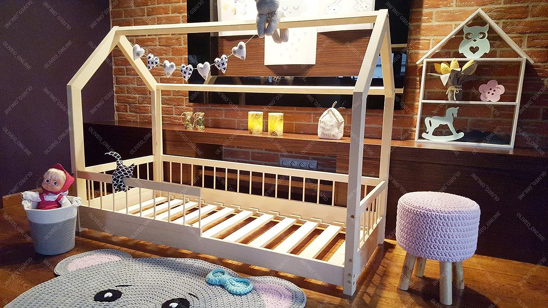 Oliveo HAUSBETT KINDERHAUS Bett für Kinder,Kinderbett Spielbett mit SICHERHEITBARRIEREN und Schublade (200 x 160 cm, Gemalt) Gemalt 140 x 90 cm