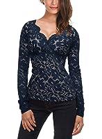 DJT-Camiseta Blusa para Mujer de Encaje Escote Pico