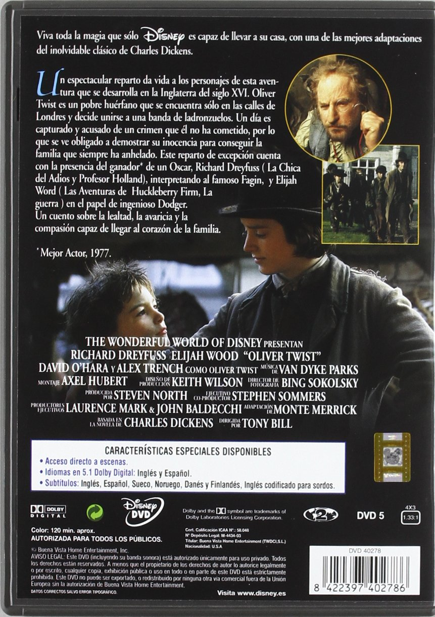 Oliver Twist [DVD]: Amazon.es: Elijah Wood, David OHara ...