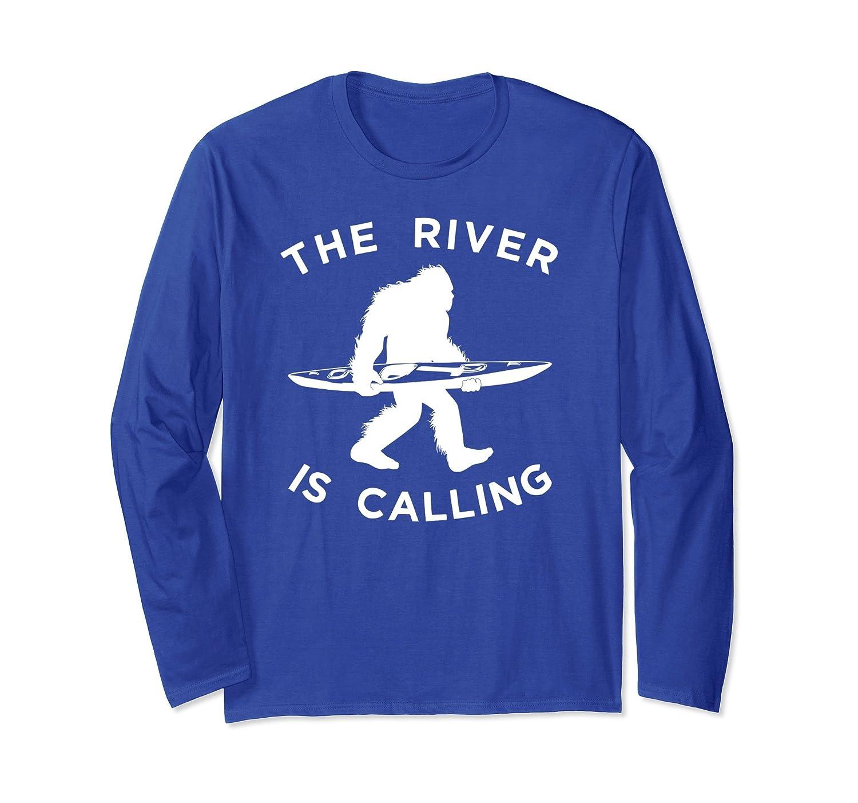 Kayak Sasquatch Long Sleeve Shirt, Kayaking Bigfoot Apparel-alottee gift