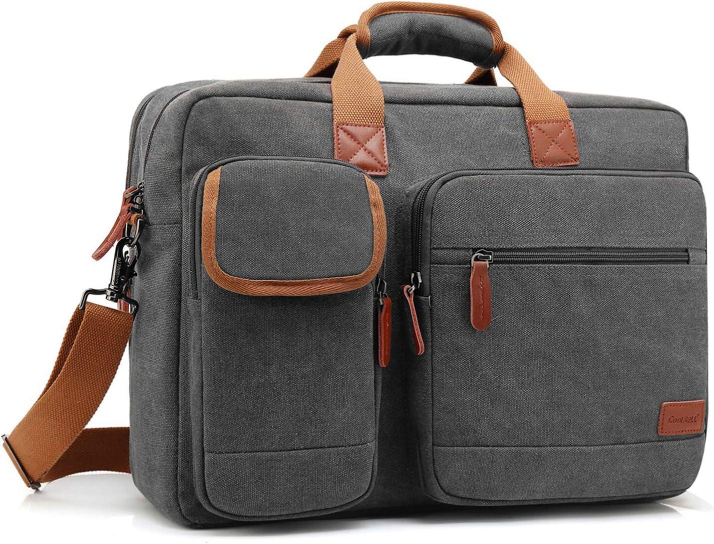 CoolBELL 17.3 Inches Laptop Messenger Bag Briefcase Protective Shoulder Bag Multi-Functional Business Bag for Men/Women/Travel (Canvas Dark Grey)