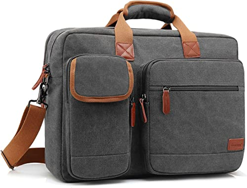 CoolBELL 17.3 Inches Laptop Messenger Bag Briefcase Protective Shoulder Bag Multi-Functional Business Bag for Men Women Travel Canvas Dark Grey