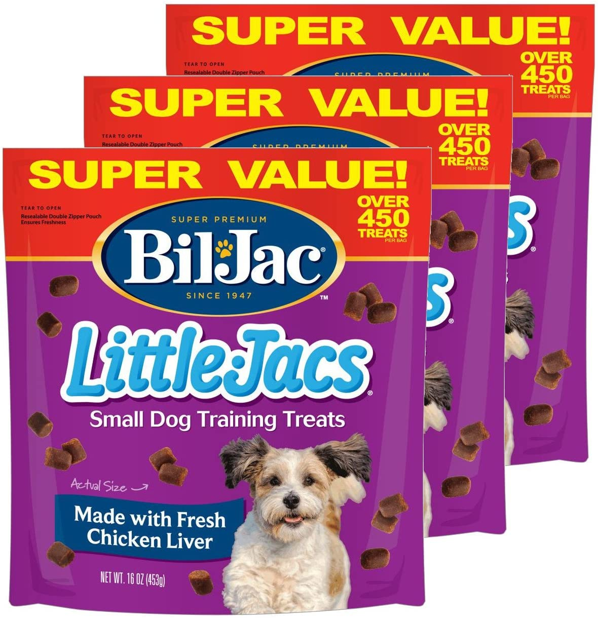 Bil-Jac 840235168621 Little Jacs Small Dog Liver Treats 3 Pack , 16 oz