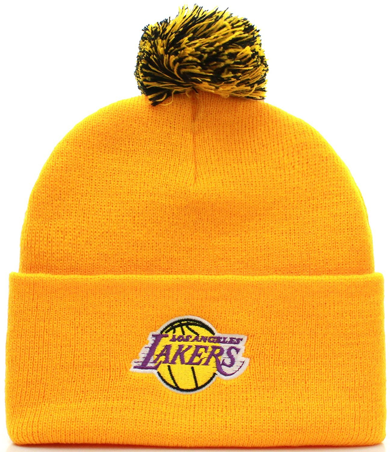 NBA Los Angeles Lakers Basketball Pom Pom Beanie Knit Hat Cap (Adult One Size, Yellow)