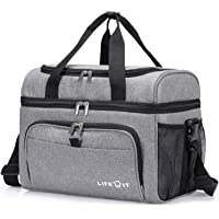 Lifewit Collapsible Cooler Bag 36-Can Insulated Leakproof Soft Cooler Portable Double Decker Cooler Tote for Beach/Picnic/Sports, Grey