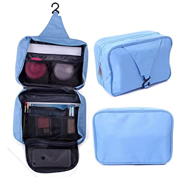 9cd7d603eda2 HDE Personal Travel Shower Organizer Hanging Toiletry Wash Bag Bathroom  Tote (Baby Blue)