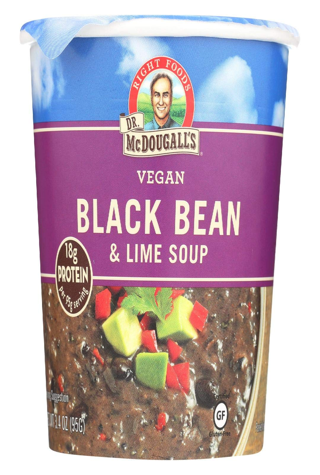 Dr McDougalls Right Foods Black Bean and Lime Big Cup Soup, 3.4 Ounce - 6 per case. by Dr. McDougalls Right Foods