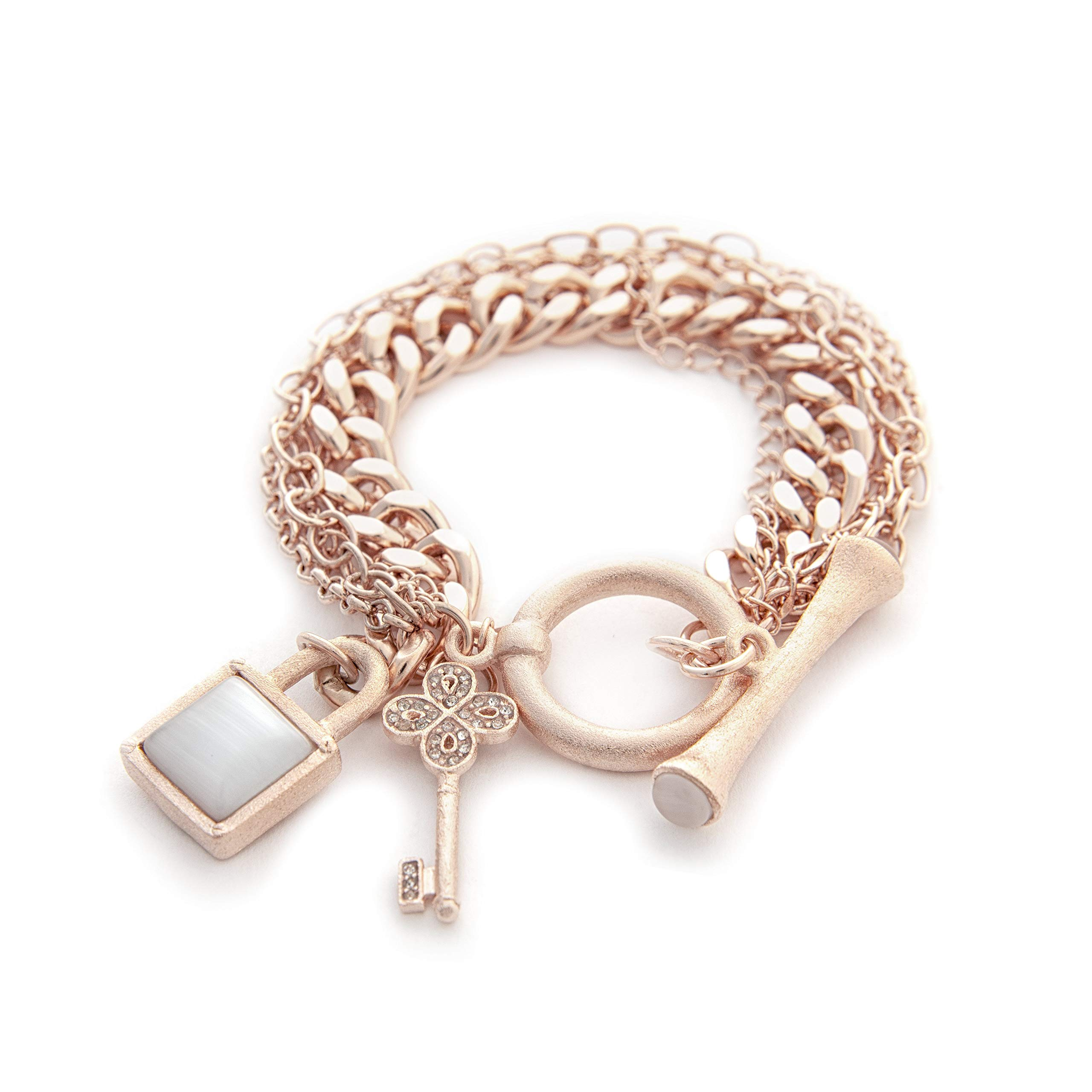 Rivka Friedman Multi Chain 18K Rose Gold Clad Gem Stone Charm Toggle Bracelet