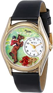 product image for Whimsical Watches Kids' C0810001 Classic Gold Horse Competition Black Leather And Goldtone Watch