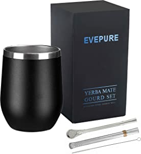 Evepure Yerba Mate Gourd Cup - Gourd Mate Cup(Cup and Straw) - Yerba Mate Cup Set with Bombilla and Brush - Midnight Black