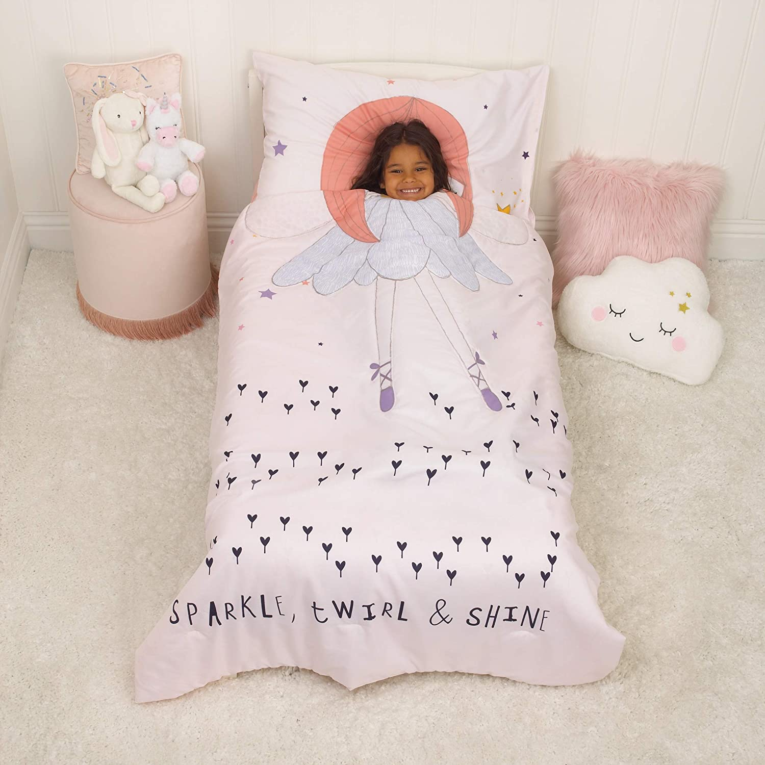 Everything Kids Glow in The Dark 4 Piece Toddler Bed Comforter Set, Magical Fairy, Pink/Orange/Lavender/Navy