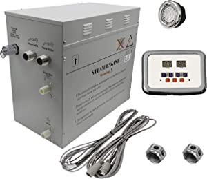 Superior 12kW Self-Draining Steam Bath Generator with Waterproof Programmable Controls and 2 Chrome Steam Outlets with Free Light