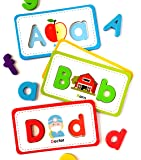 Curious Columbus Flashcards and Foam Letter Set. 26 Alphabet Matching Flash Cards with 78 Magnetic Letters. Learn to…