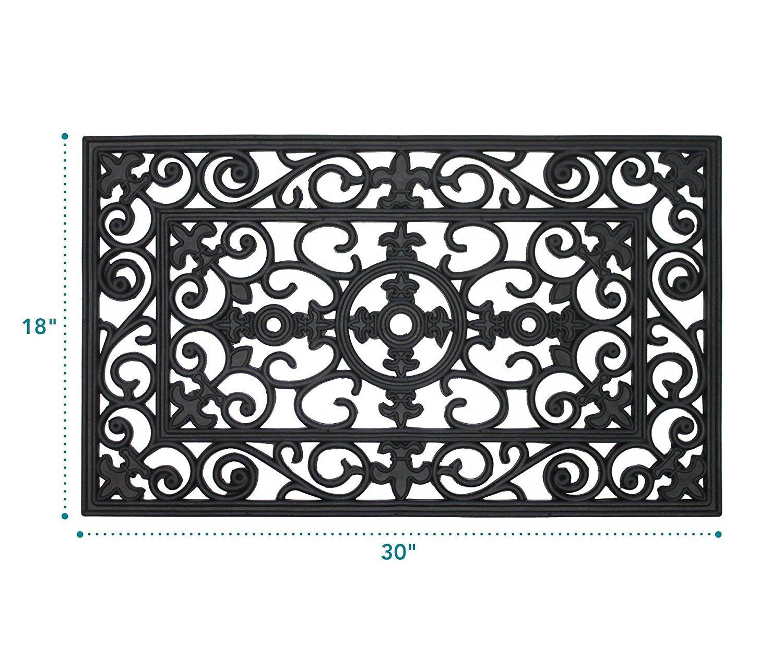 Amazon.com : MILLIARD Rubber Door Mat, 'Lilly' Design Decorative ...