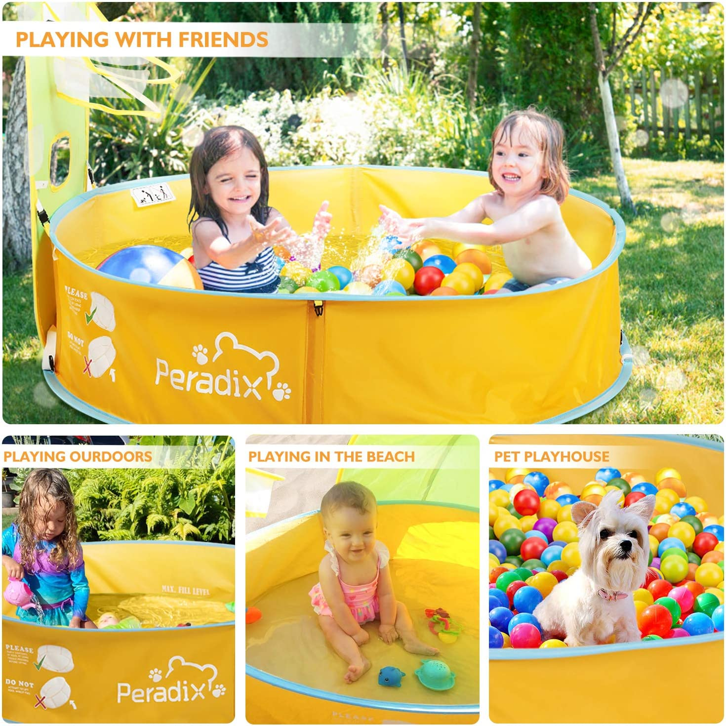 Peradix Kids Ball Pit Play Tent Outdoor//Garden Paddling Pool for Kids 2 in 1 Toddler Pop Up Tent with Basketball Hoop and Zippered Storage Bag for Baby//Children Indoor