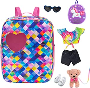 Ecore Fun 5 Items 18 inch Dolls Bag Set and Accessories Including 18 Inch Doll Clothes, Shoes, Sunglasses, Doll Backpack and Toy Dog
