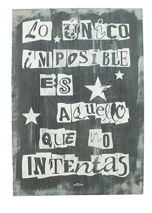 Enkolor/Cuadro Madera con frases/Vintage/Artesanal/Imposible/Cacao/40X60cm.: Amazon.es: Hogar