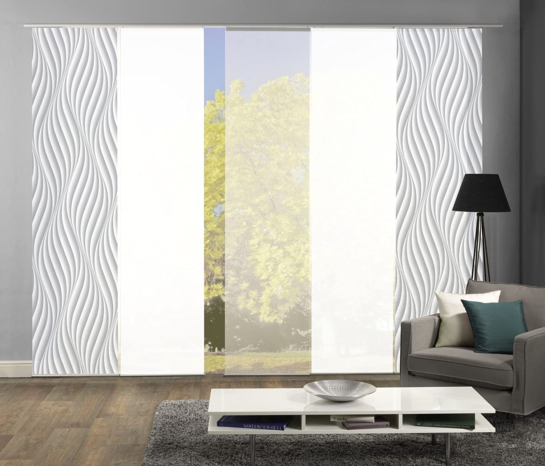 Wohnfuehlidee 5er-Set Flächenvorhang, Deko blickdicht, JENNIFER, Höhe 245 cm, 2x Dessin grau 2x uni weiß blickdicht 1x uni weiß halbtransparent