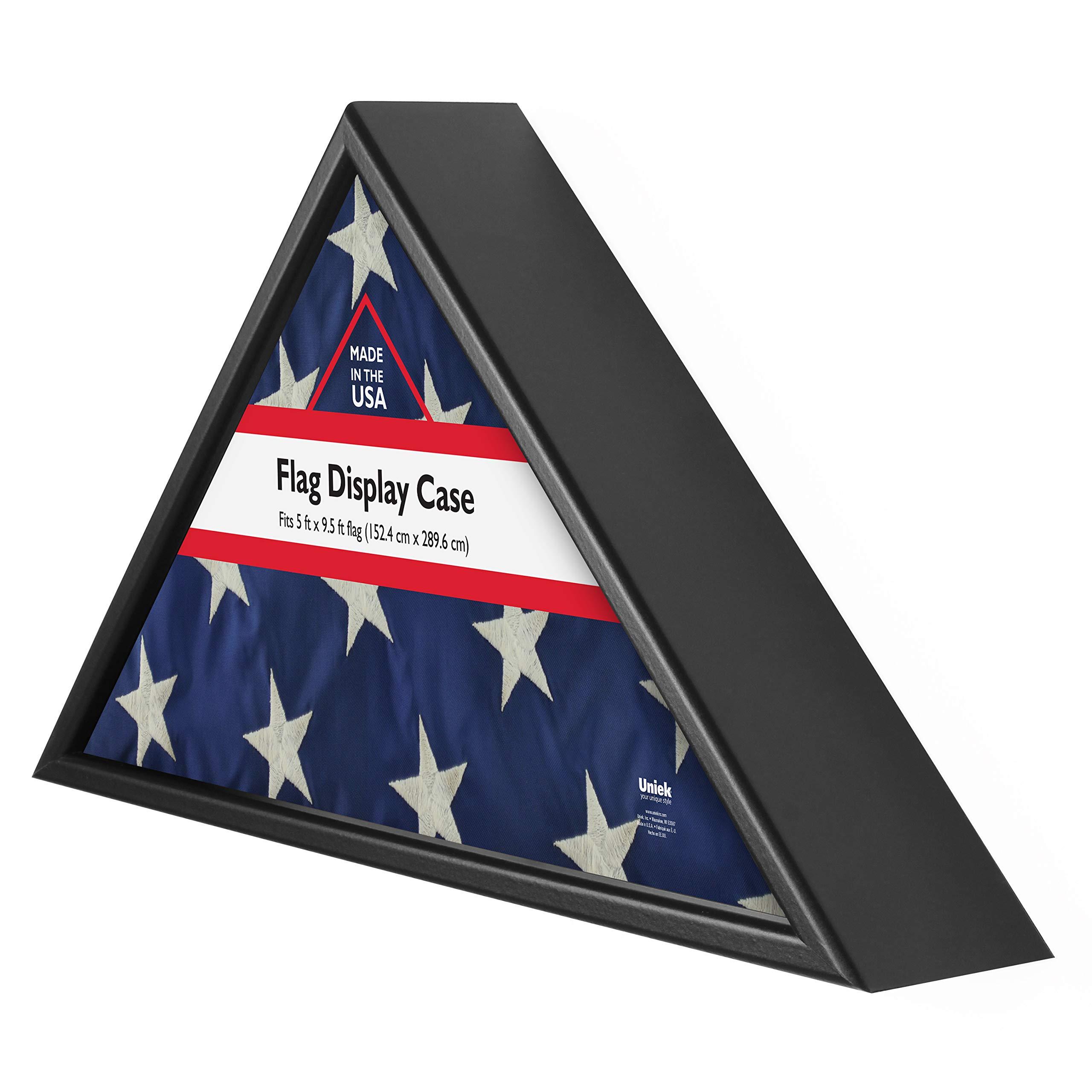 DesignOvation Memorial Flag Case, Black Wood, Made in USA, Holds 5'Hx9.5'W Folded Flag