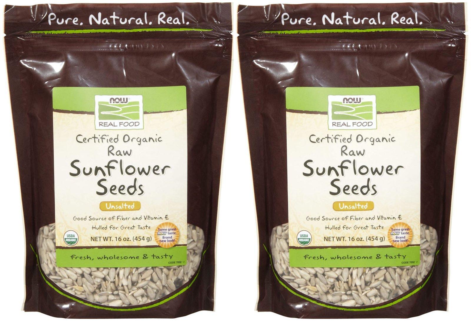 NOW Foods Organic Raw Sunflower Seeds - 16 oz - 2 pk