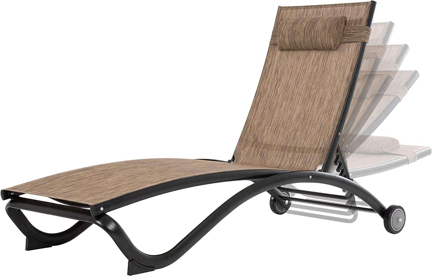Vivere Glendale Adjustable Aluminum Lounger, Granite