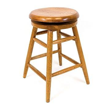 Brilliant Aw Furniture Solid Medium Oak Backless Saddle Swivel Bar Stool 24 Inches Lamtechconsult Wood Chair Design Ideas Lamtechconsultcom