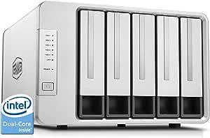 TerraMaster F5-221 Caja de Servidor NAS 5 bahías Intel Dual Core 2.0GHz 2GB RAM Plex Media Server Almacenamiento en Red(Sin Discos)