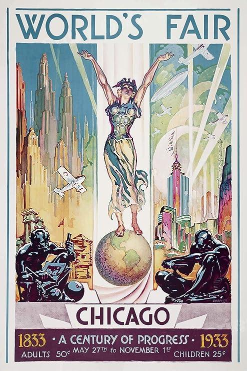 Vintage Art Deco Era Poster Chicago World/'s Fair 1930s Print Picture USA Retro