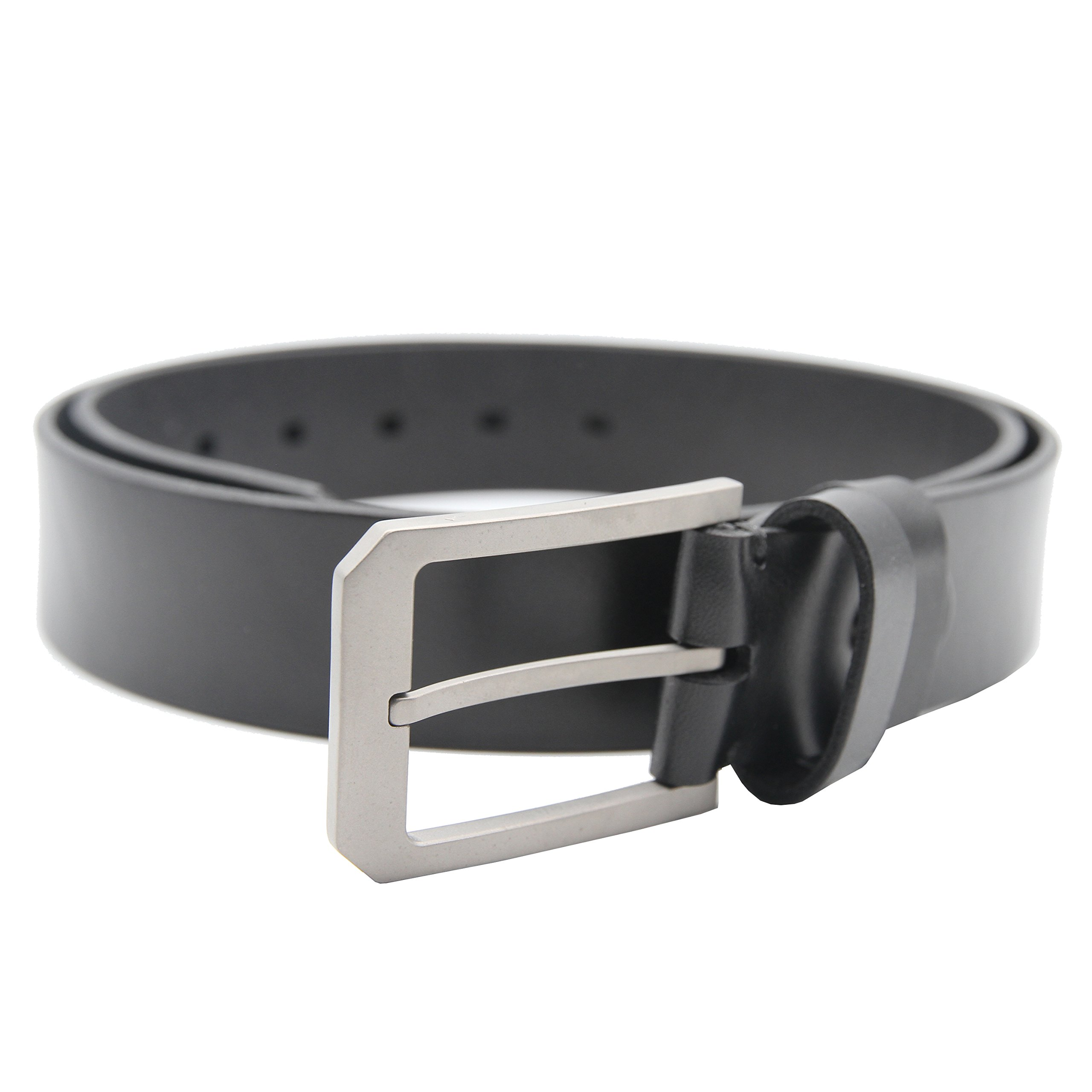 Men's Belt with Italian Imported Full Grain Genuine Leather and Nickel Free Titanium Buckle (XXL (37''- 40''), Black)
