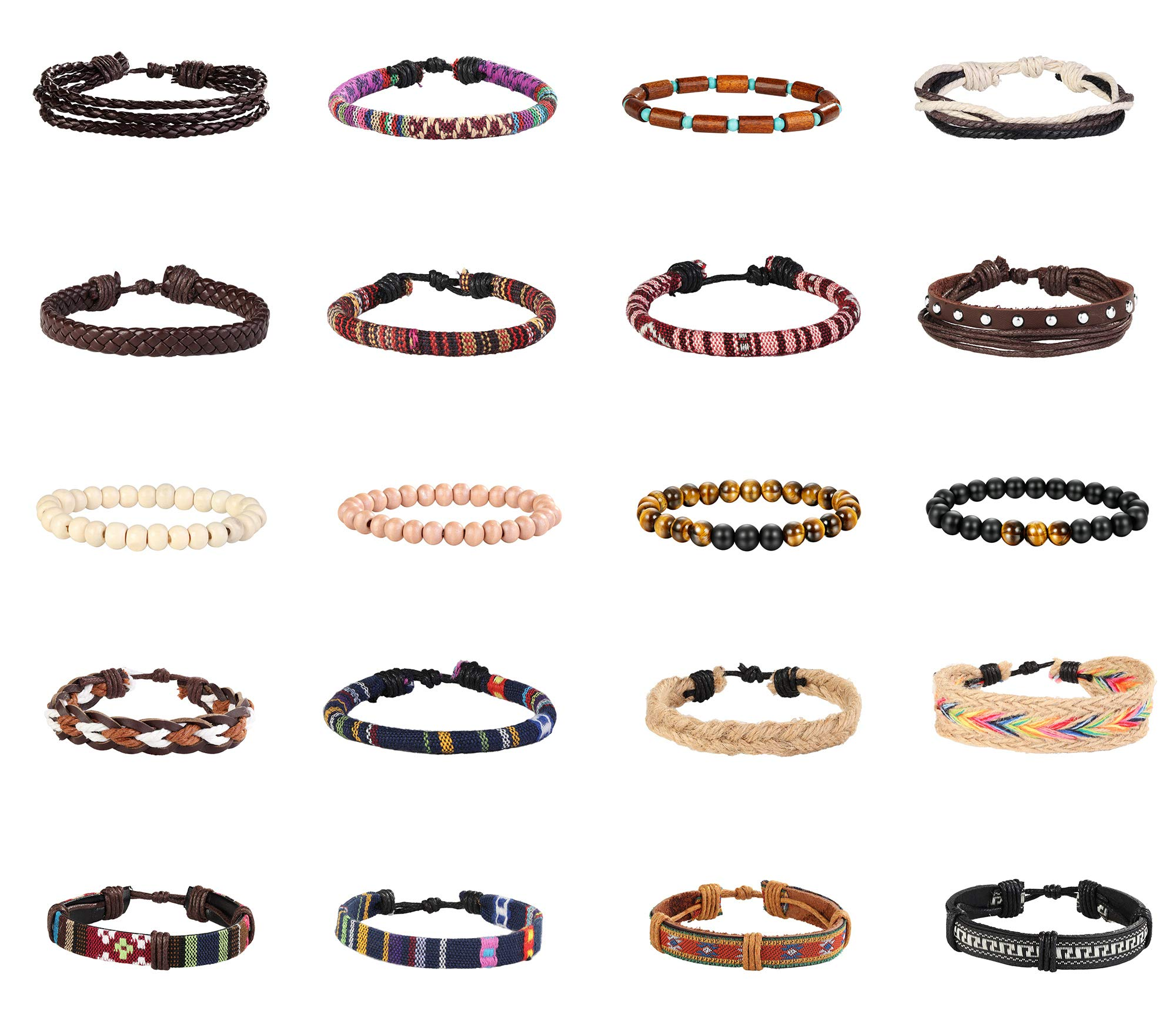 Finrezio 20 Pcs Braided Bracelet Set Women Men Beads Leather Wristbands Boho Ethnic Tribal Linen Hemp Cords Wrap Bracelets String Handmade Jewelry (Style A:20 Pcs) by Finrezio