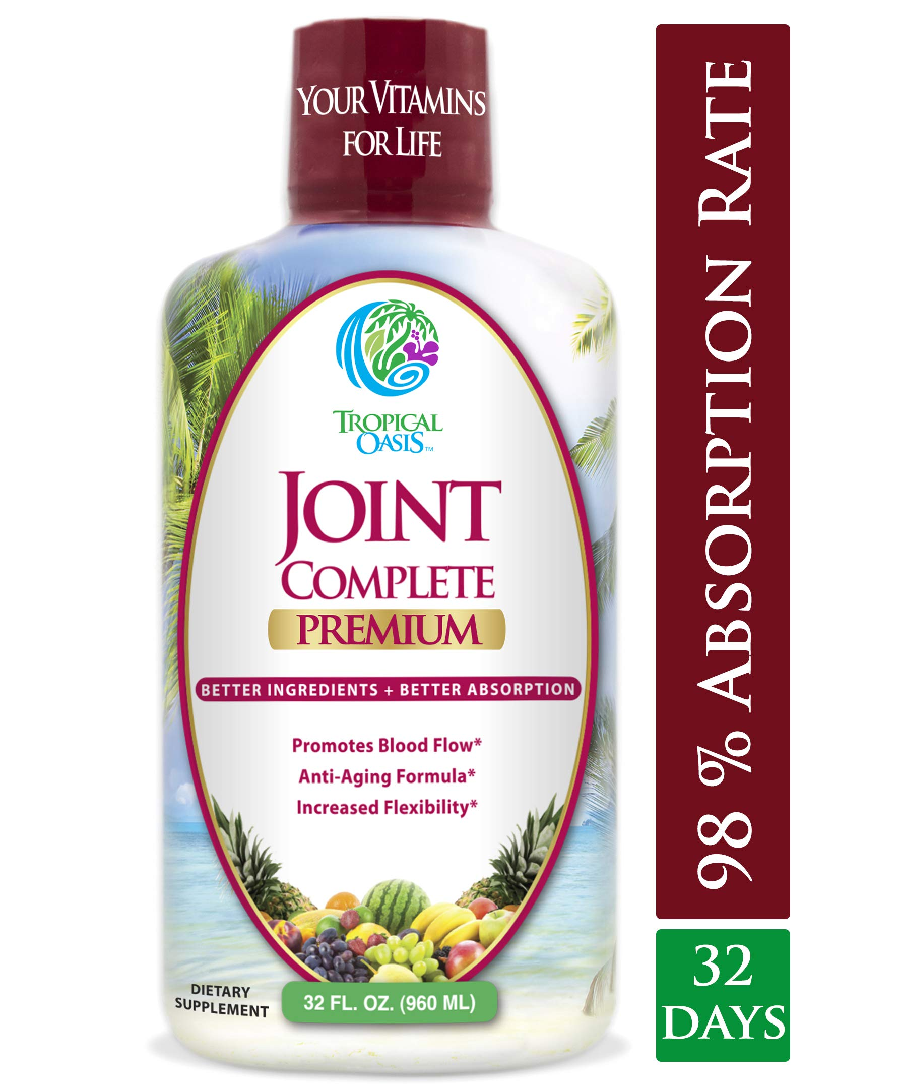 Joint Complete Premium- Liquid Joint Supplement w/Glucosamine, Chondroitin, MSM, Hyaluronic Acid - for Bone, Joint Health, Joint Pain Relief - 96% Max Absorption- 32oz, 32 serv