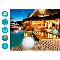 MERVY Boule LED Sphère Décorative Lumineuse Multicolore + Télécommande/Interieur - Extérieur/Chargeur sans Fil Induction (60 cm)