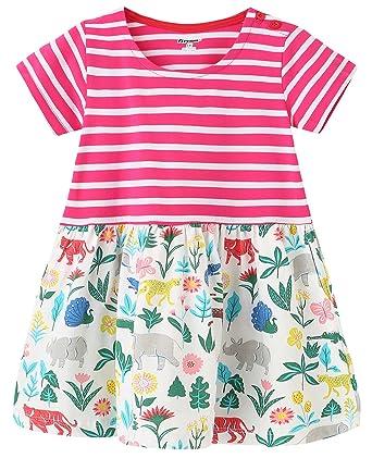8acece76e58c Fiream Girls Summer Casual Dresses Cotton Striped Cartoon Printed Playwear  Dresses (153Zoo