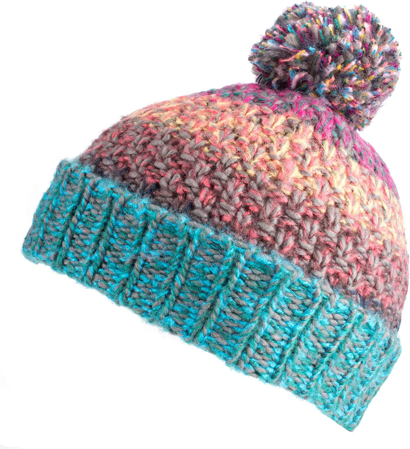 Warm Winter Beanie with Colour Gradient Fenside Country Clothing Ladies Chunky Striped Yarn Bobble Hat