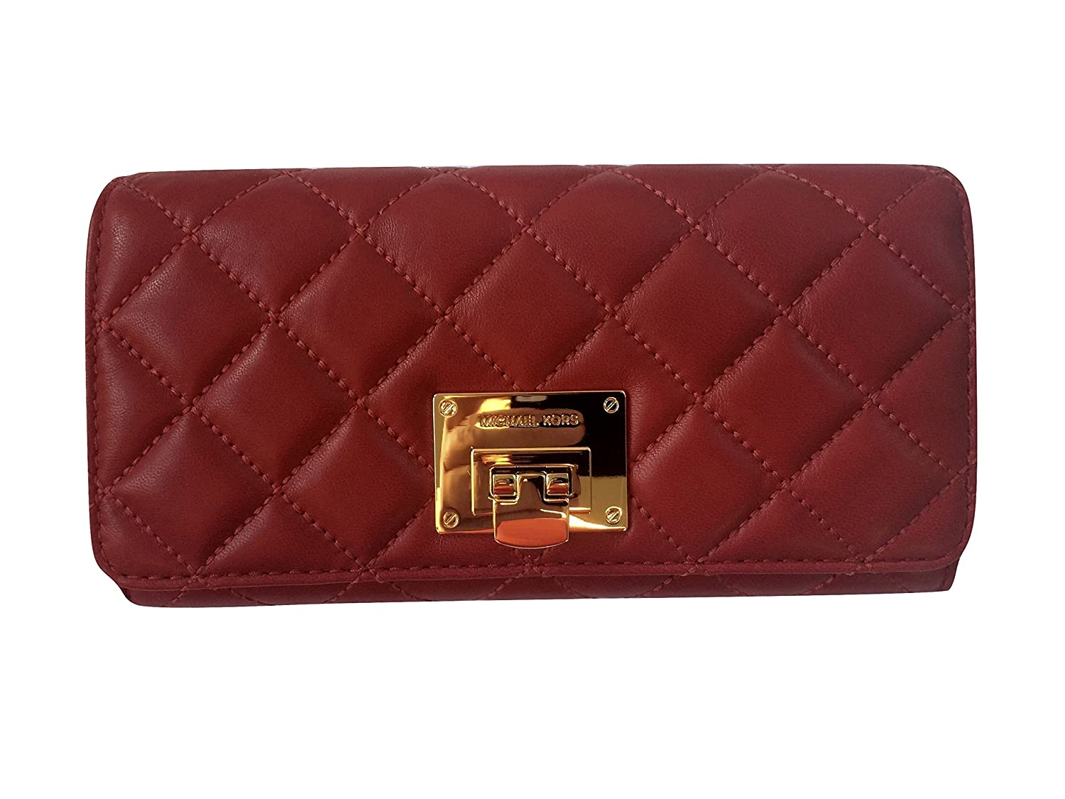 716c1fe34abb30 Soft quilted lambskin leather with polished golden tone hardware. Flap top  closure with Michael Kors engraved push lock closure